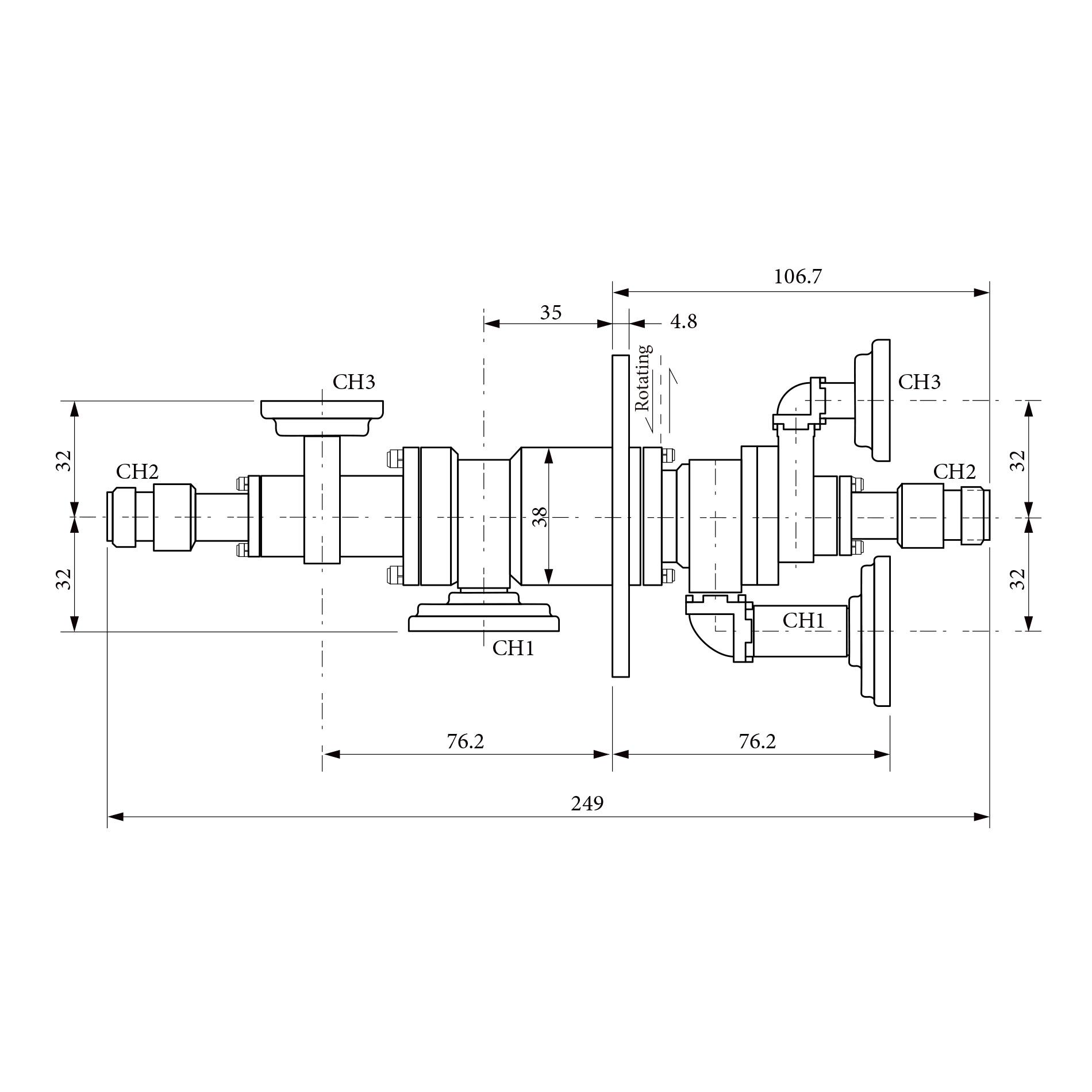 三路旋转关节RJ153188 1CH  2CH 为8.5-10.5 GHz  3CH为16.0-17.0 GHz